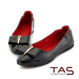TAS 方形蝴蝶結牛漆皮娃娃鞋-感性黑