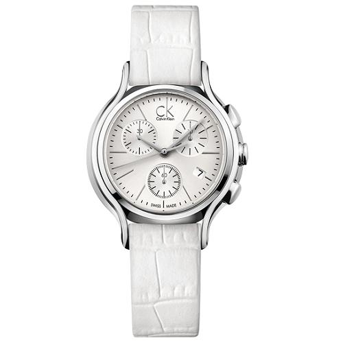 瑞士 Calvin Klein 三眼造型皮革女錶(K2U291L6)