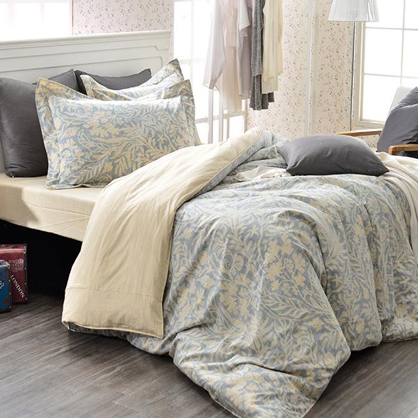義大利La Belle 加大純棉防蹣抗菌吸濕排汗兩用被床包組-諾曼亞