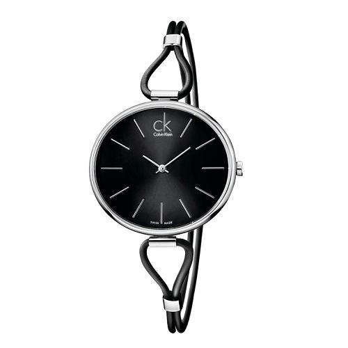 瑞士 Calvin Klein 時尚造型皮繩腕錶 (K3V231C1)