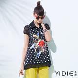 【YIDIE衣蝶】襯衫領圓點鑽飾印花雪紡上衣