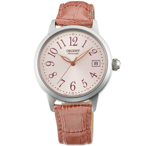 ORIENT 東方錶 ELEGANT系列 花漾年華機械腕錶 皮帶款 FAC06004Z 粉紅色