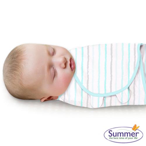 美國 Summer Infant SwaddleMe 可調式懶人包巾-小號,藍彩條紋