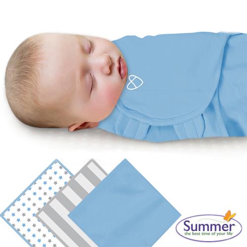 美國Summer Infant 聰明懶人育兒包巾純棉,小號3入組-藍星條紋