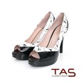 TAS 印花壓紋撞色拼接魚口高跟鞋-時尚黑