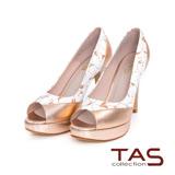 TAS 印花壓紋撞色拼接魚口高跟鞋-玫瑰金
