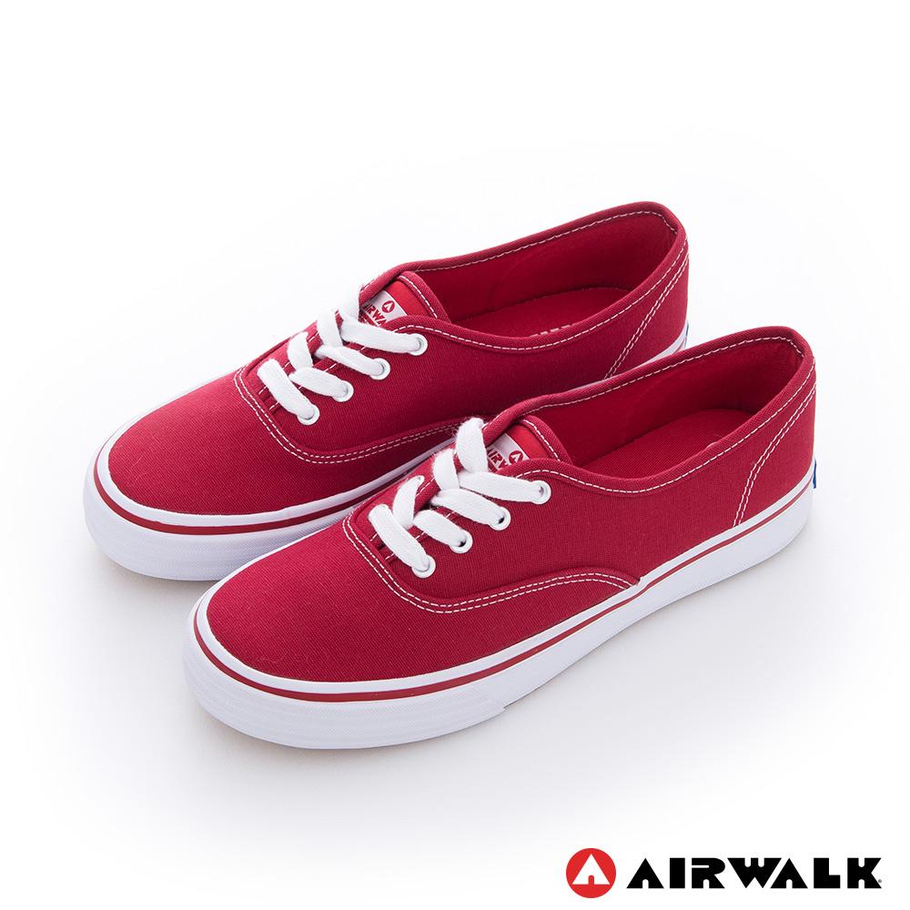 AIRWALK(女) - 小藍標 紅邊經典基本綁帶帆布鞋 -青春紅