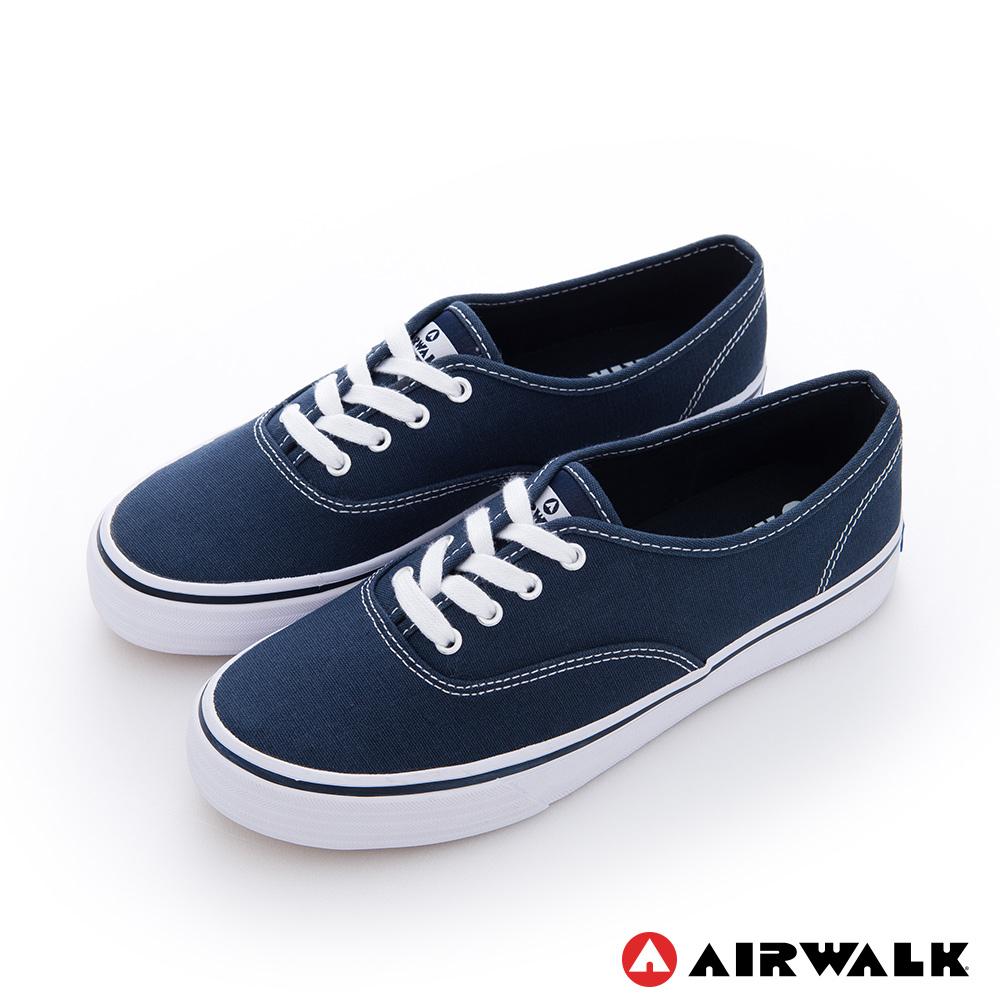 AIRWALK(女) - 小藍標 紅邊經典基本綁帶帆布鞋 -超搭藍