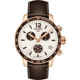 TISSOT QUICKSTER CLASSIC 計時運動腕錶-白x玫瑰金框/42mm T0954173603701
