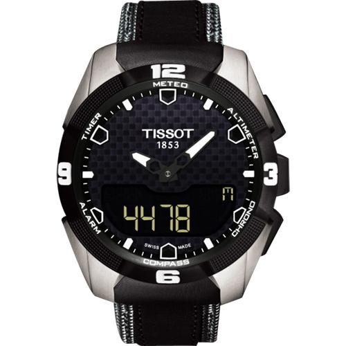 TISSOT T-TOUCH EXPERT SOLAR 鈦金屬太陽能觸控皮帶腕錶-黑/45mm T0914204605101