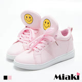 【Miaki】慢跑鞋韓妞百搭可愛笑臉內增高綁帶厚底包鞋 (白色 / 粉色)
