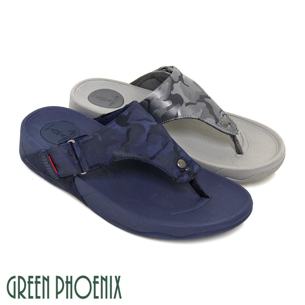 【GREEN PHOENIX】經典迷彩圖騰寬版T字釘扣膠條平底夾腳拖鞋(男款)