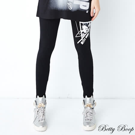 【Betty Boop貝蒂】彈性印圖內搭褲(黑色) -friDay購物