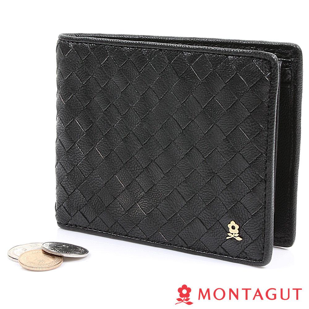 【MONTAGUT夢特嬌】編織真羊皮短夾黑-6卡1照片2夾層1零(651)