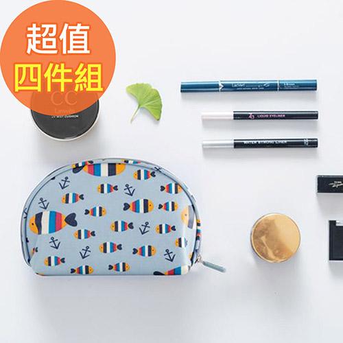【韓版】可愛繽紛防潑水輕便貝殼化妝包(4色)-四入組