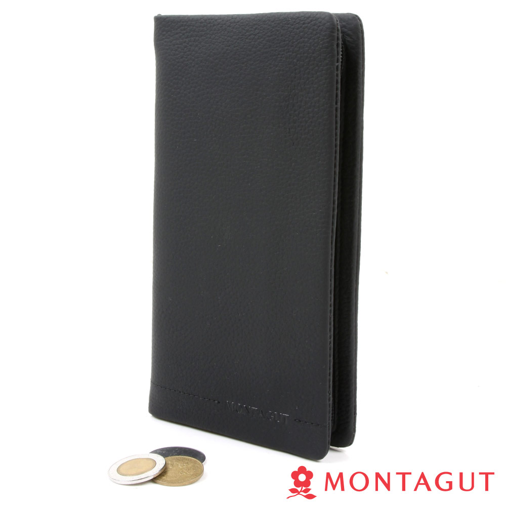 【MONTAGUT夢特嬌】Leather Zip Wallet頭層牛皮長夾-11卡1照2夾2鈔1零(長夾)