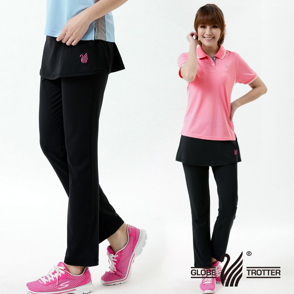 【遊遍天下】MIT台灣製抗UV彈性假兩件式休閒長褲P127-1黑色