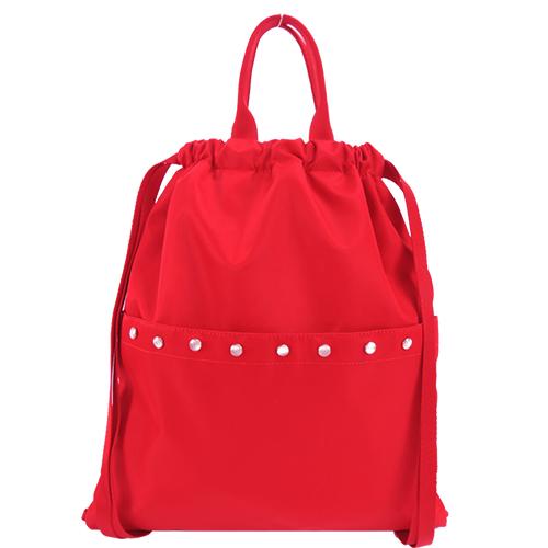 agnes b. 水晶貼飾尼龍輕便束口後背包 紅