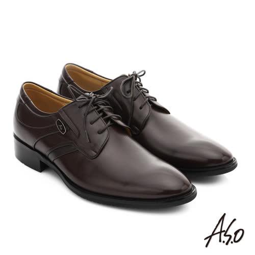 A.S.O 菁英通勤 真皮綁帶奈米紳士鞋(咖啡)