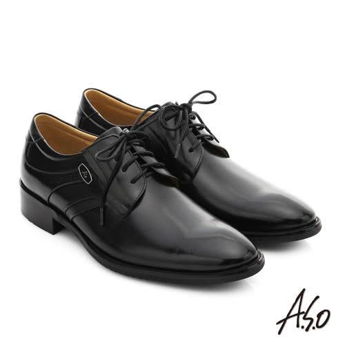 A.S.O 菁英通勤 真皮綁帶奈米紳士鞋(黑)