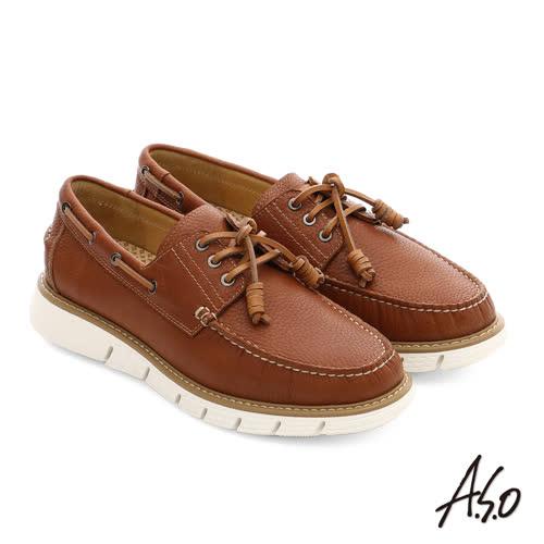 A.S.O 3D超動能 全牛皮手縫奈米都會休閒鞋(茶)