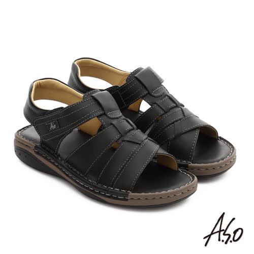 A.S.O 手縫氣墊鞋 真皮寬楦魔鬼氈休閒男涼鞋(黑)