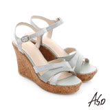 A.S.O 嬉皮假期 牛皮拼接閃色羊皮楔型涼鞋(淺綠)