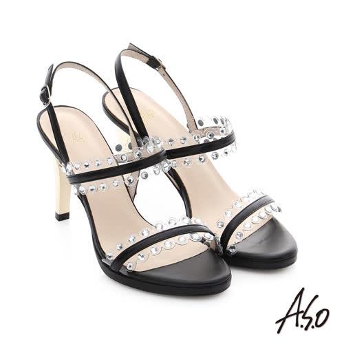 A.S.O 星光注目 璀璨水鑽飾釦高跟涼鞋(黑)