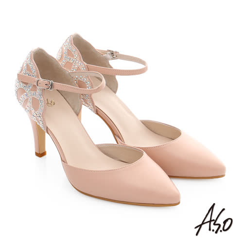 A.S.O 星光注目 真皮時尚燙鑽宴會高跟鞋(粉紅)
