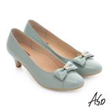 A.S.O 舒活寬楦 全真皮蝴蝶結飾扣奈米窩心低跟鞋 (淺綠)