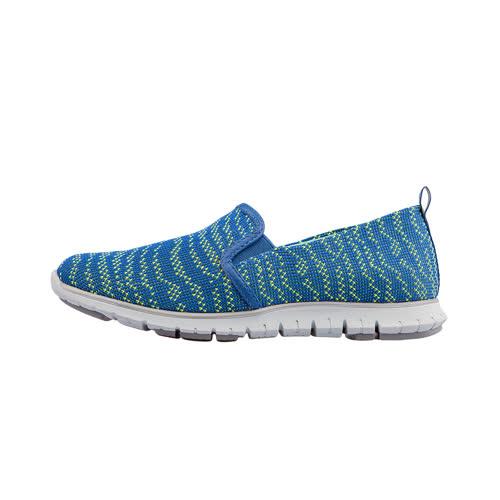 【Kimo 德國手工氣墊鞋】雙質料雙色針織簡約舒適運動風平底休閒鞋(運動藍K17SF081086)