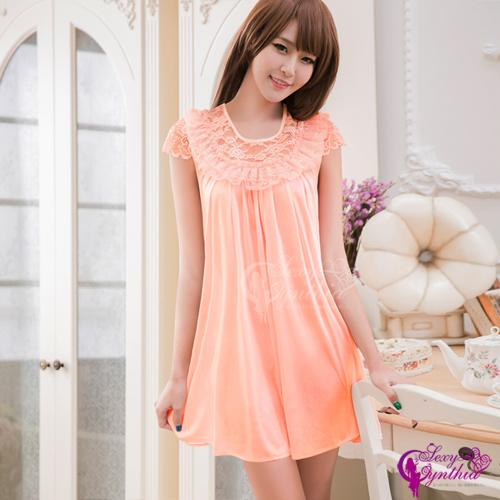 【Sexy Cynthia】性感睡衣 韓版粉橘蕾絲小蓋袖柔緞睡衣
