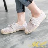MK-臺灣製-透氣網布綁帶平底休閒鞋(白色)