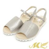 MK-台灣製真皮系列-韓系鬆緊設計平底涼鞋-銀色