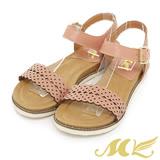 MK-台灣製真皮系列-花瓣點點馬卡龍一字平底涼鞋-粉色