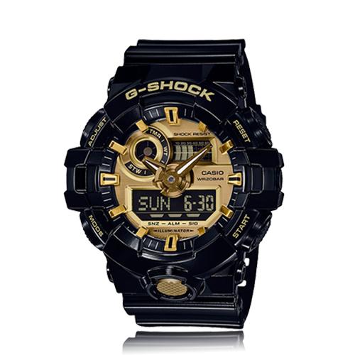 CASIO 卡西歐 G-SHOCK 經典黑金配色雙顯男錶 GA-710GB-1A
