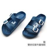 【333家居鞋館】兒童款★雙排扣室外童拖鞋-藍色