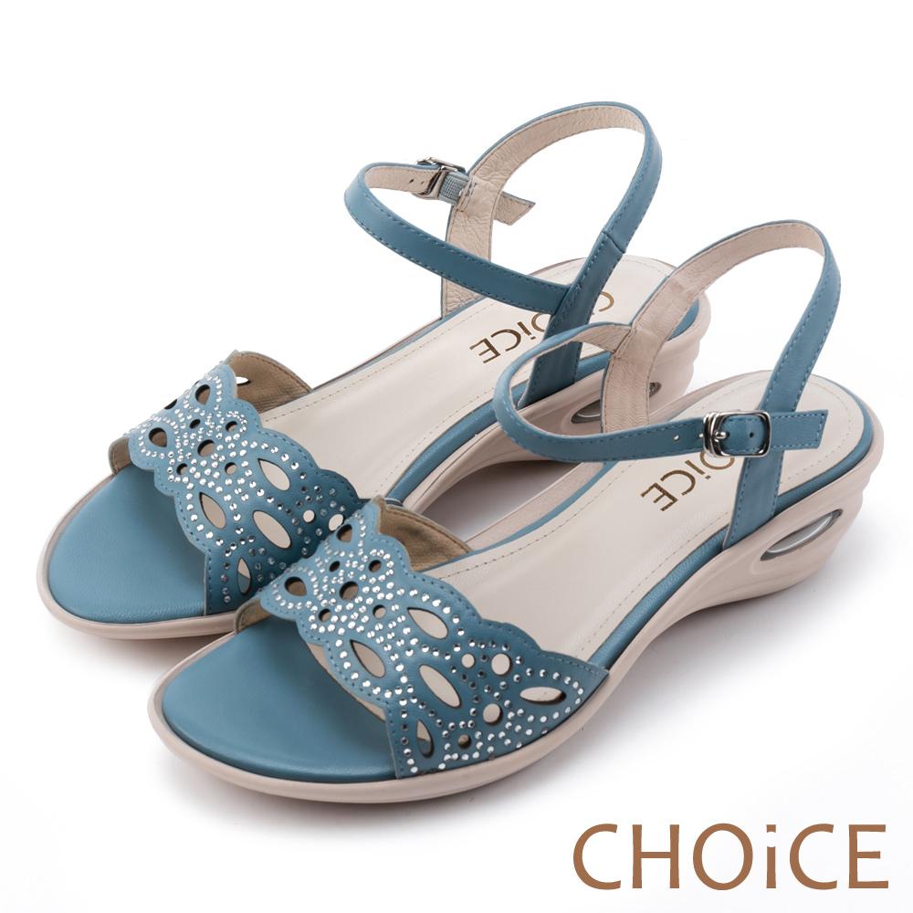 CHOiCE 優雅氣息無限蔓延 柔軟羊皮燙鑽氣墊涼鞋-藍色
