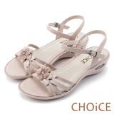 CHOiCE 甜美優雅舒適 真皮立體花朵串珠氣墊涼鞋-米色
