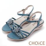 CHOiCE 甜美優雅舒適 真皮立體花朵串珠氣墊涼鞋-藍色
