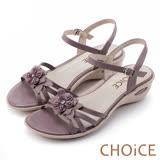 CHOiCE 甜美優雅舒適 真皮立體花朵串珠氣墊涼鞋-紫色