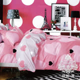 AGAPE亞加•貝【小甜心】100%精梳純棉 標準雙人(5x6.2尺)四件式涼被床包組/加高35CM