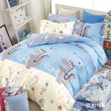 AGAPE亞加•貝【恐龍樂園】100%精梳純棉 標準雙人(5x6.2尺)四件式涼被床包組/加高35CM