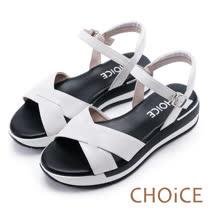 CHOiCE 親膚舒適 皮革編織交叉厚底涼鞋-白色
