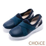 CHOiCE 中性休閒 率性牛皮拼接交叉造型休閒鞋-藍色