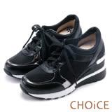 CHOiCE 中性休閒 率性牛皮網布厚底休閒鞋-黑色