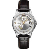 Hamilton Jazzmaster 鏤空機械腕錶-銀x咖啡/40mm H32565555