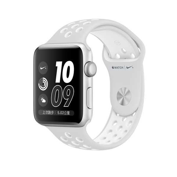 Apple Watch Series 2 智慧型手錶 ,42公釐 銀色鋁金屬錶殼搭 Pure Platinum 配白色 Nike 運動型錶帶 (MQ192TA/A)