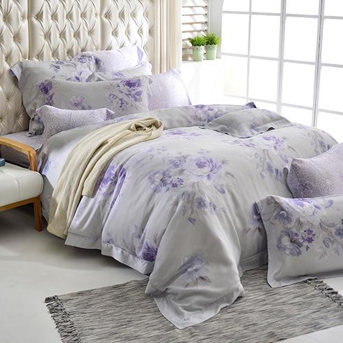 義大利La Belle 雙人天絲防蹣抗菌吸濕排汗兩用被床包組-紫丁香氣