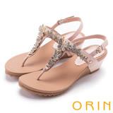 ORIN 耀眼時尚 蝴蝶造型寶石牛皮夾腳涼鞋-粉色